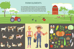 Farming infographic elements. With field, farm, tractor, animals and harvest. Farmer man and woman. Modern flat design. eps10 vector illustration Stock Images