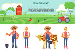 Farming infographic elements. With field, farm, tractor. Farmer man and woman. Modern flat design. eps10 vector illustration Stock Photography