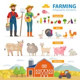 Farming infographic elements. Two farmers - man and woman, farm animals, equipment, barn, tractor, landscape large set. Of vector flat illustrations isolated on Royalty Free Stock Photography