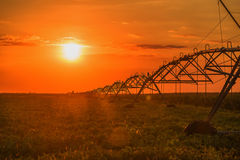 Farming irrigation pivot sprinkler Stock Photography