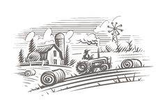 Free Farming Landscape Engraving Style Illustration. Vector, Isolated, Layered. Royalty Free Stock Photography - 126317197