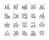 Farming landscape line icons. Rural houses, planting vegetables and wheat fields, cultivated crops. Agriculture