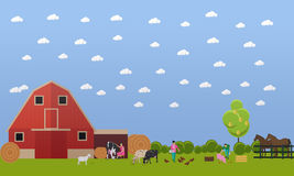 Farming men and women working on farmyard, vector illustration. Farming men and women working on farmyard - feeding chickens and pigs, milking cow. Domestic Royalty Free Stock Images