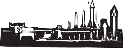 Farming Missiles. Woodcut style image of missiles being set up in a field Royalty Free Stock Images