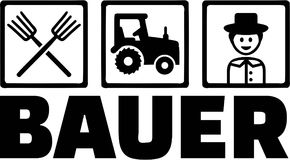 Farming Objects Farmer. Vector tractor Royalty Free Stock Images