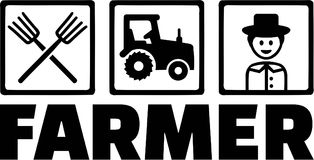 Farming Objects Farmer Tractor Pitchfork Royalty Free Stock Photo
