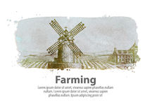 Farming or the old windy mill. vector illustration Royalty Free Stock Images