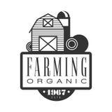 Farming organic estd 1967 logo. Black and white retro vector Illustration Royalty Free Stock Photos
