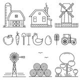 Farming Outline Icons Set Royalty Free Stock Photography