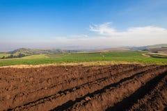 Farming Plowed Earth Crops  Royalty Free Stock Photos