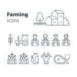 Farming products icons set, farm house, fruit vegetables, cow milk, meat Stock Photography