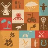 Farming retro icons. Vector illustration Stock Photography