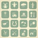 Farming retro icons. Vector illustration Stock Images