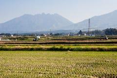 Farming on rice fields inside Aso volcanic caldera. Kumamoto prefecture, Japan stock image