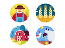 Farming set icons Royalty Free Stock Images