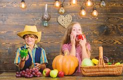 Farming teaches kids where their food comes from. Kids farmers girl boy vegetables harvest. Family farm. Siblings having. Fun. Children presenting farm harvest royalty free stock photo