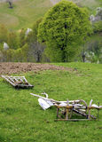 Farming tools. Old wooden farming tools on green field Royalty Free Stock Photography