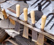 Farming tools at blacksmith shop Stock Image