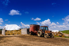 Farming tractor on land Stock Images