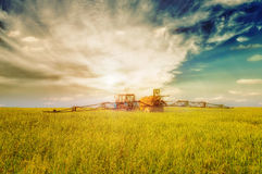 Farming tractor spraying green field Stock Image