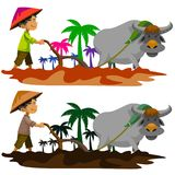 Farming. Traditional farming method in the Philippines royalty free illustration