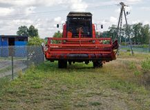 Farming vehicle harvester waiting fow heavy duty. Harvester, farming technology make harvesting faster and gathering money more royalty free stock photography