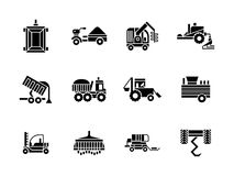 Farming vehicles glyph style icons set. Agricultural and farming vehicles. Tractors, harvesting combine and others machinery. Collection of symbolic black glyph Stock Photos