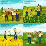 Farming 2x2 Design Concept Royalty Free Stock Photo