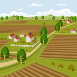 Farmland. Background illustration of a farmer landscape Royalty Free Stock Photo