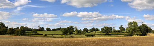 Farmland. Clouds trees ploughed earth soil agriculture Stock Photography