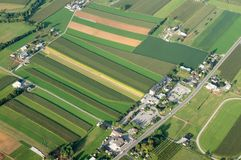 Farmland from Above. An aerial view of farmland in Lancaster County, Pennsylvania Royalty Free Stock Photo