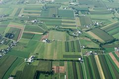 Farmland from Above. An aerial view of farmland in Lancaster County, Pennsylvania Stock Photo