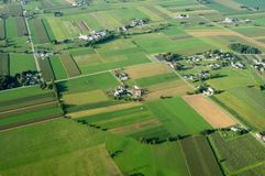 Farmland from Above. An aerial view of farmland in Lancaster County, Pennsylvania Stock Images