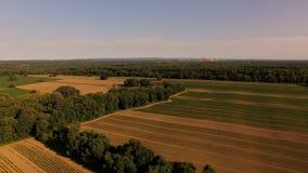 Farmland Aerial. V8 Flying low over farmland panning stock video footage