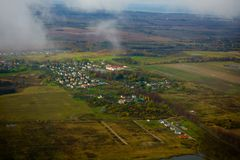 Farmland aerial view at autumn Royalty Free Stock Photos