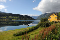 Farmland around Hardangerfjord, Norway Royalty Free Stock Photography