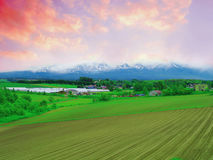 Farmland countryside. Evening in farmland of Hokkaido Japan royalty free stock image
