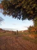 Farmland countryside path trail track farm fence sign private la stock photography
