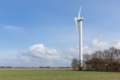 Farmland with damaged wind turbine after a heavy storm in the Netherlands Royalty Free Stock Photo