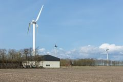 Farmland with damaged wind turbine after a storm in the Netherlands Stock Images