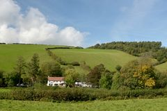 Farmland in Doone Valley, Exmoor, North Devon Royalty Free Stock Photo