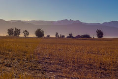 Farmland in early morning glow against mountains Royalty Free Stock Photos