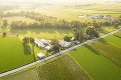 Farmland in the Evening Sun. An aerial view of farmland in Lancaster County, Pennsylvania Royalty Free Stock Photography