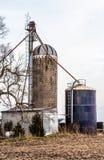 Farmland. Grain Bins & Shed in Prairie City Iowa Stock Photography