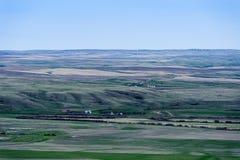 Farmland green fields in Grassland National Park,. Green fields of farmland in Grassland National Park, Saskatchewan,Canada stock photography