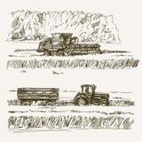 Farmland, harvest on the farm. Farmland, harvest on the farm, hand drawn set Stock Images