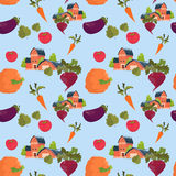 Farmland House Vegetables Farming Seamless Pattern Stock Photos