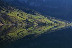 Farmland with houses reflecting in lake Wagital Royalty Free Stock Images