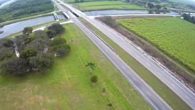 Farmland by Lake Okeechobee Florida aerial video Royalty Free Stock Photos