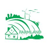 Farmland landscape drawing. Village house in the background of a plowed field and wind turbines,  illustration, emblem idea Stock Photo